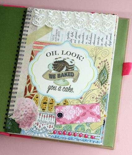 Pretty art journaling, including lace, scrapbook papers, doodling by Peony and Parakeet.