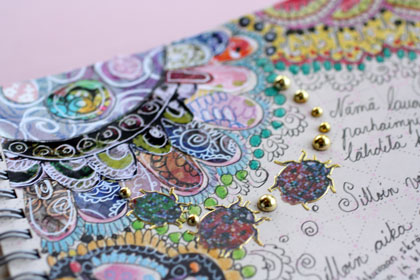 A detail of a pretty art journal page by Peony and Parakeet
