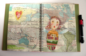 Art Journal page, traveling, Smash book