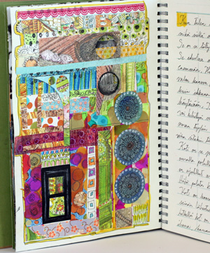 Art journal page, a house with door