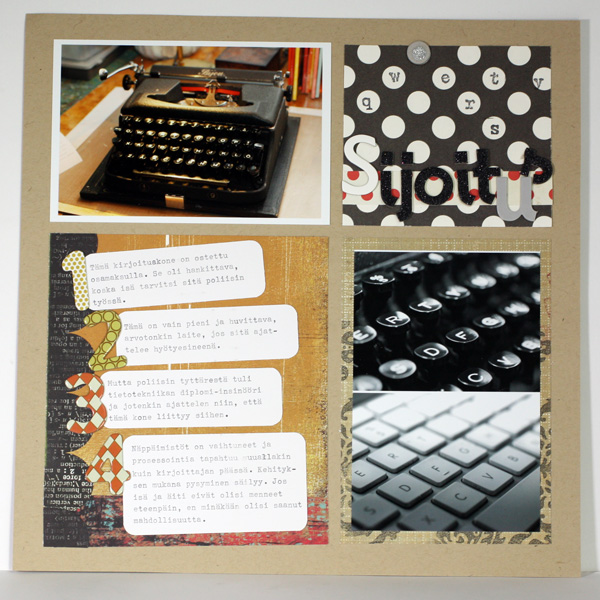 Investment, a scrapbooking page about an old type writer