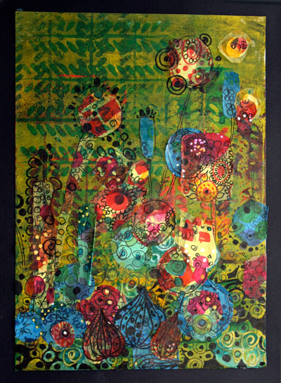 A tissue paper collage of spring flowers by Peony and Parakeet