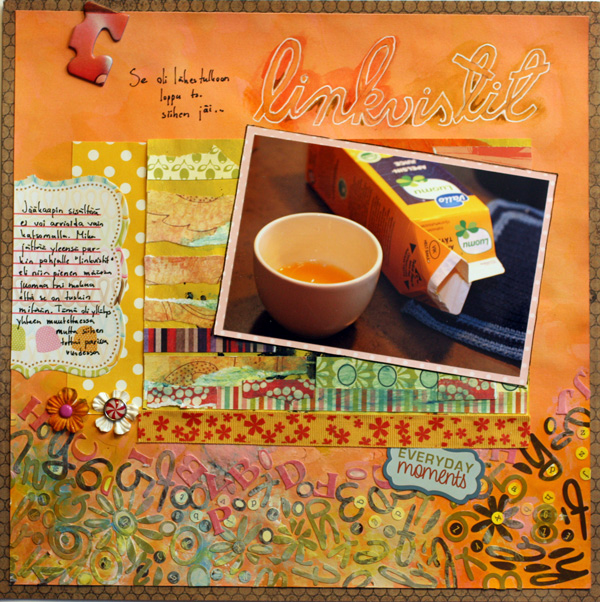Leftovers, a scrapbook page using handdecorated papers