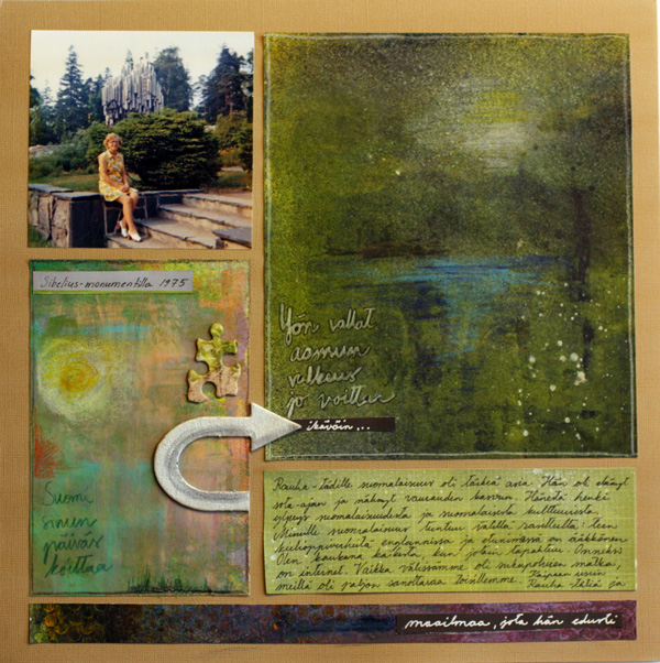 I Miss Her and The World She Represented, a scrapbook page using handdecorated papers