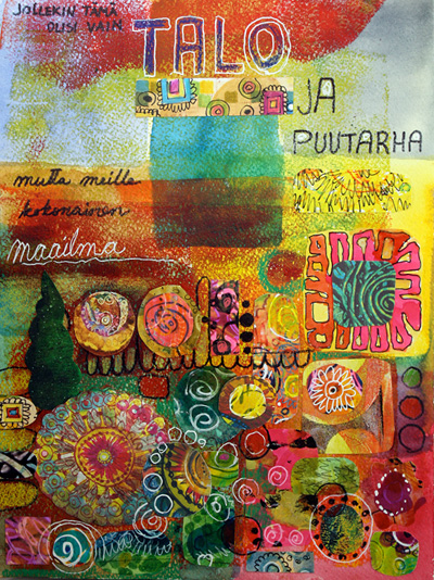 Art journal page, house and garden