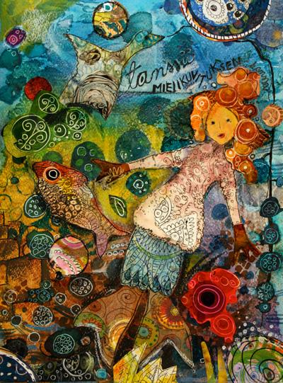 Dancing With Imagination, an art journaling page, illustration by Peony and Parakeet