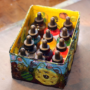 Decorated box filled with ink bottles