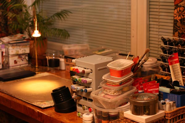 Ready for creating, organised creative space with art supplies by Peony and Parakeet