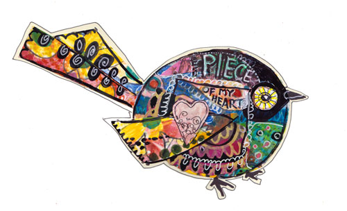 Piece of My Heart, collage bird, Birds of Happiness, by Peony and Parakeet