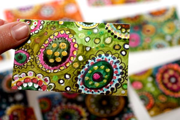 Handmade business cards by Peony and Parakeet