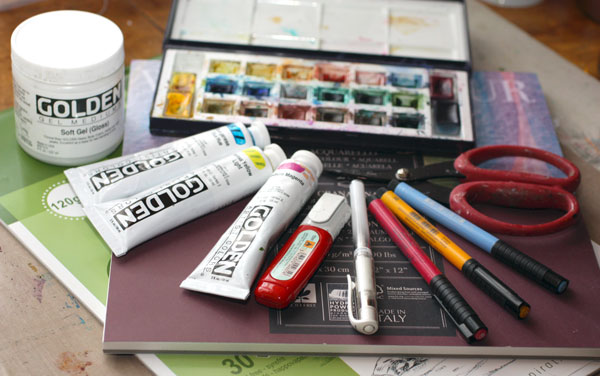 Some basic art supplies, by Peony and Parakeet