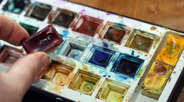 Watercolours, White Nights and Derwent, Peony and Parakeet