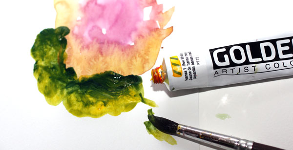 Acrylic paints vs watercolours, Peony and Parakeet