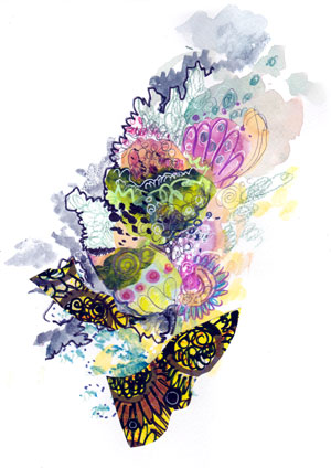 Butterfly, a collage by Peony and Parakeet