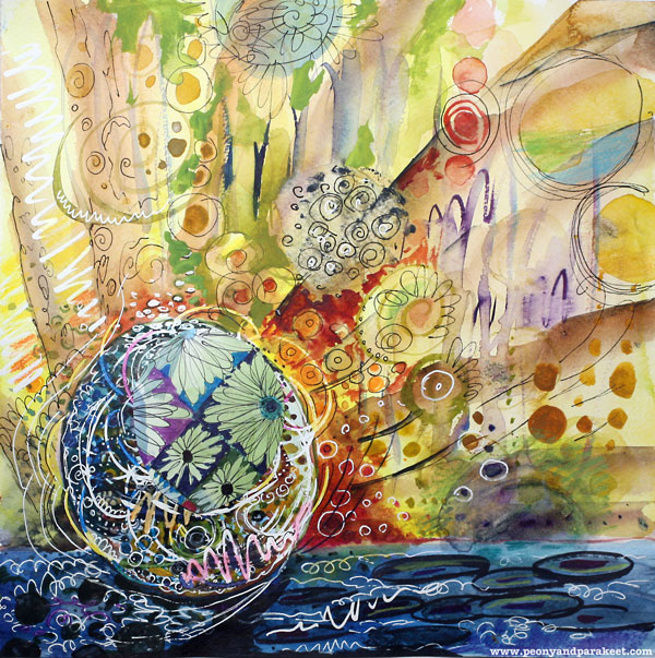 Bursting Circle, a watercolor collage and a creative self-expression exercise by Peony and Parakeet