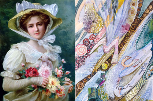 Inspired by fine arts. Painting by Emile Vernon. Collage by Peony and Parakeet
