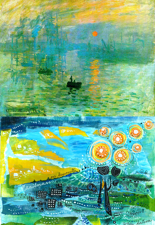 Monet's Impression Sunrise, Collage by Peony and Parakeet
