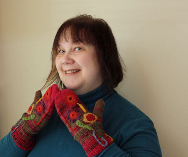 Knitted mittens, collage mittens, knitting, crochet, by Peony and Parakeet, Päivi Eerola