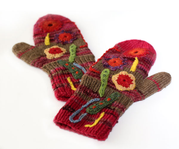 Knitted mittens, collage mittens, knitting, crochet, by Peony and Parakeet