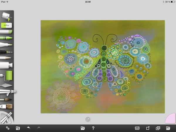 Painting with iPad, ArtRage painting in progress, by Peony and Parakeet
