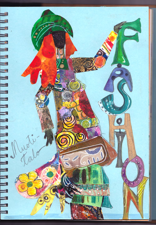Fashion art journaling page, by Peony and Parakeet