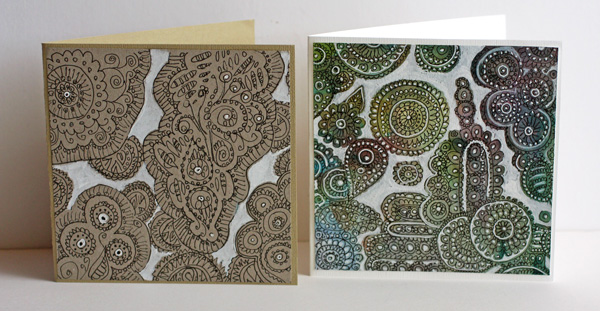 Doodled lace cards, by Peony and Parakeet