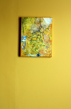 Yellow collage on yellow wall, by Peony and Parakeet