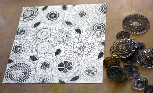 Rubber stamping and hand drawing by Peony and Parakeet, phase 1