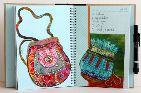 Bag themed art journal pages by Peony and Parakeet