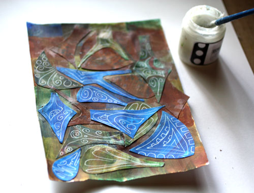 Creating a paper collage, by Peony and Parakeet