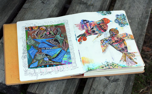 Art journal spread by Peony and Parakeet