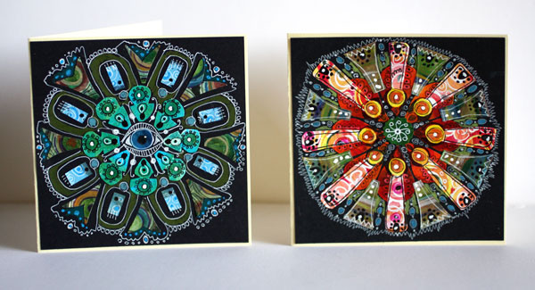 Blue Eye Mandala and Red Energy Mandala by Peony and Parakeet