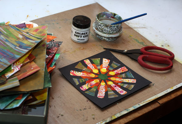 Creating collage mandalas from hand cut papers, by Peony and Parakeet