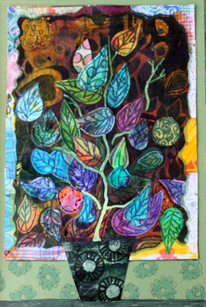 House plant, a paper collage by Peony and Parakeet