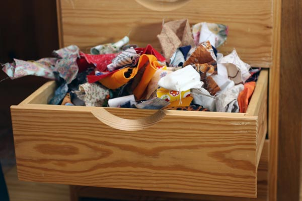 Fabric scraps in a drawer