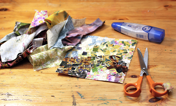 Creating a fabric collage, by Peony and Parakeet