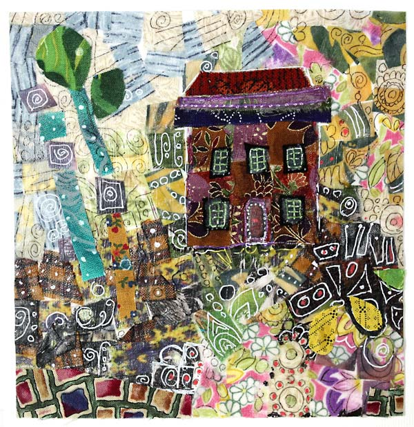 A collage made from fabric pieces, by Peony and Parakeet. See the instructions to make fabric collages!