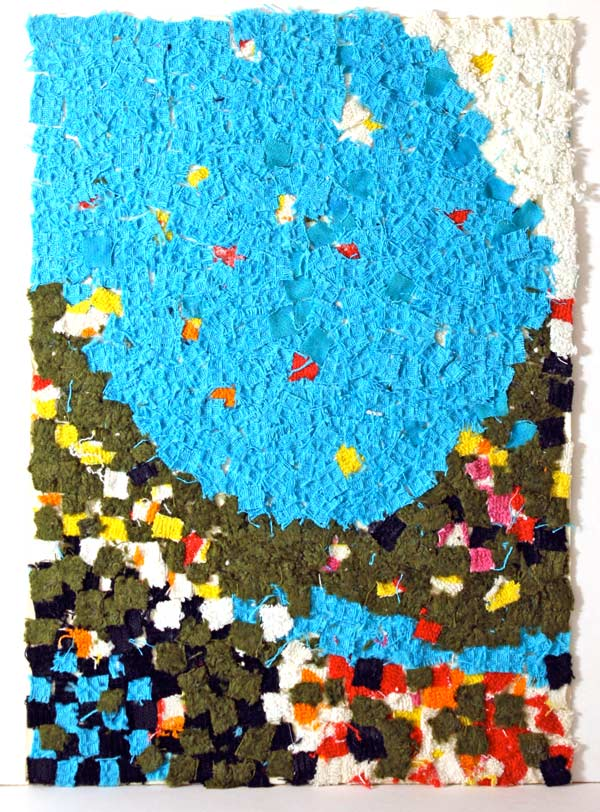A fabric collage made by Paivi from Peony and Parakeet, in the age of 10