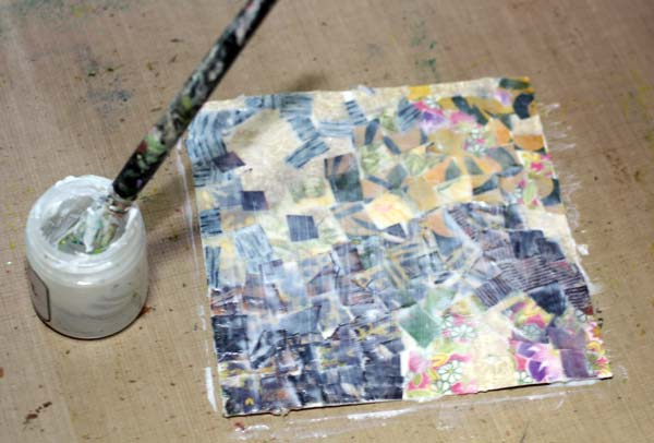 Creating a fabric collage, adding layers with gel medium, by Peony and Parakeet