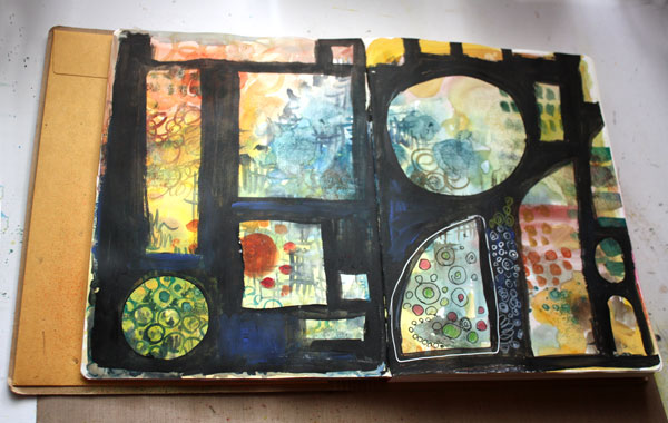 Creating of a Scotland inspired art journal page spread by Peony and Parakeet