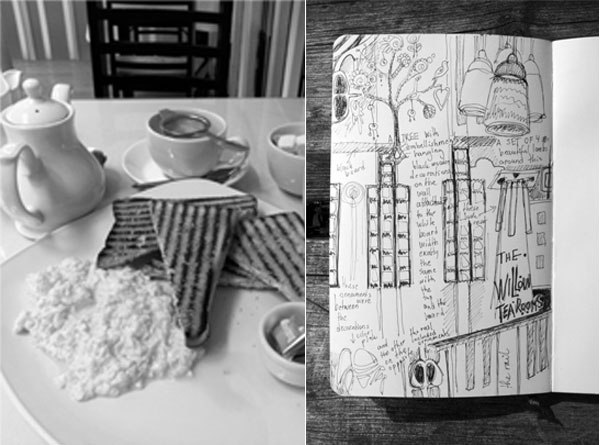 Eating breakfast at Willow Tea Rooms and art journal page about the designs of Charles Rennie Mackintosh, by Peony and Parakeet