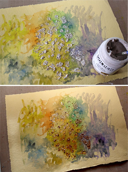 Creating a collage, adding mica flakes, a phase photo, by Peony and Parakeet