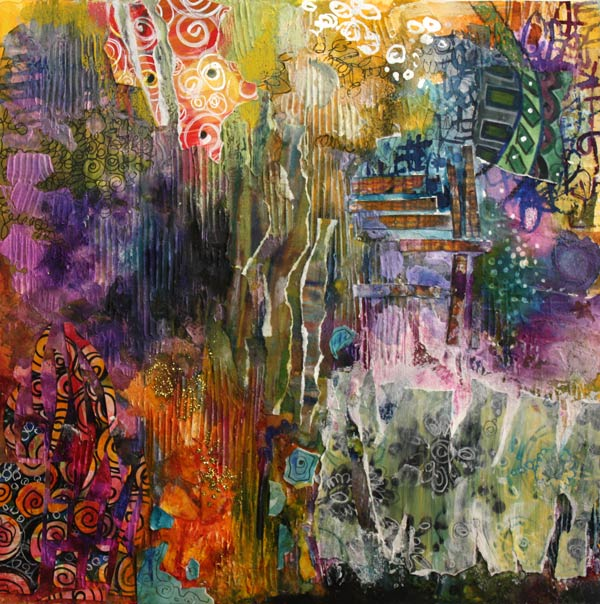 Wide Open, a mixed media collage by Peony and Parakeet
