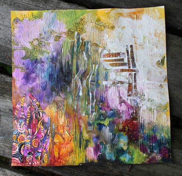 Creating a mixed media collage, by Peony and Parakeet