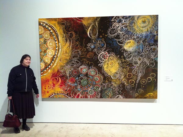 Trick photo: huge painting by Peony and Parakeet