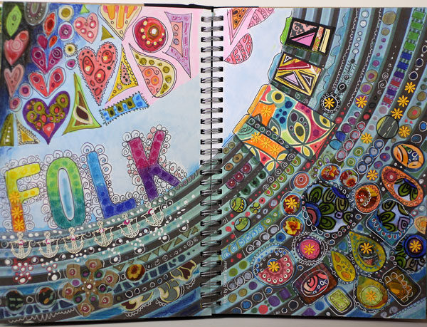 Folk art themed art journal spread made to a Smash book, by Peony and Parakeet