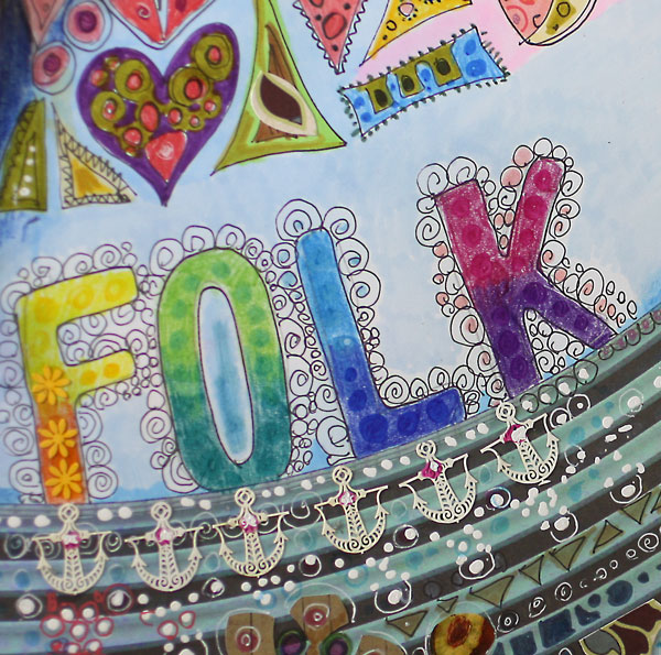 Folk art style art journaling. A detail of an art journal page by Peony and Parakeet