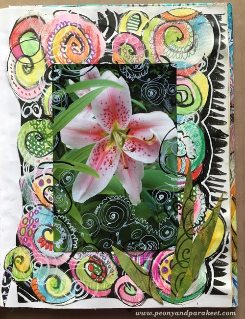 Art journal page by Peony and Parakeet. Doodling on Photos.