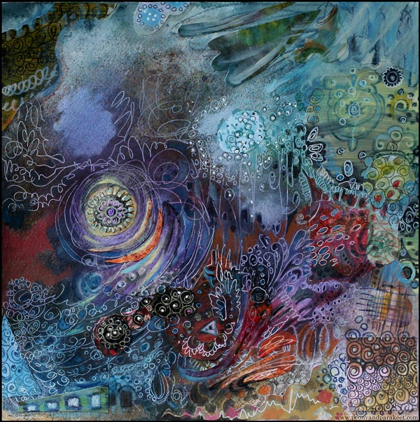 Dawn of Change, collage painting by Peony and Parakeet