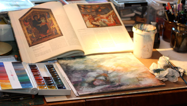 Getting inspired about old world art, keeping it visible while creating